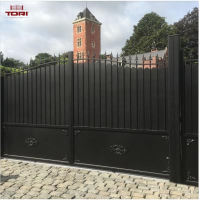 Portail aluminium coulissant et son portillon tori portails - Portail coulissant telescopique ...